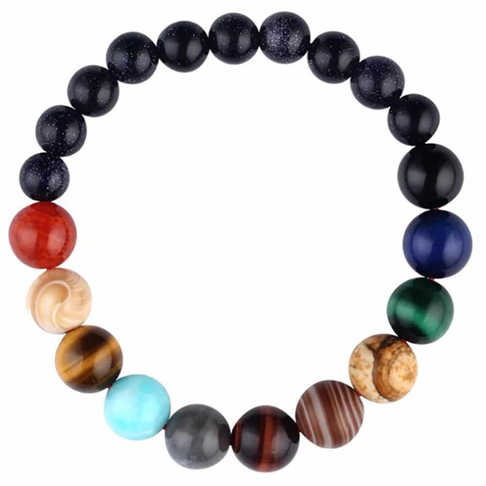 Livraison directe planétaire bleu ciel grès lune pierre cristal pierre naturelle perles galaxie planètes système solaire chakra Bracelet Bracelet