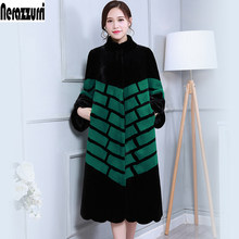 Winter Long Faux Fur Coat High Quality Women Fashion New 2019 Arrival Women Clothing Black And Green Contrast Color Fake Fur(China)