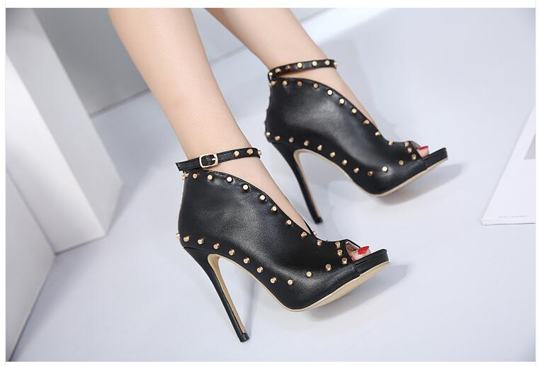 New Europe Popular Street beat rivet shoes fish mouth High-heeled Catwalk sexy Rome Ankle Buckle Strap PU heel 12cm Woman pumps 5