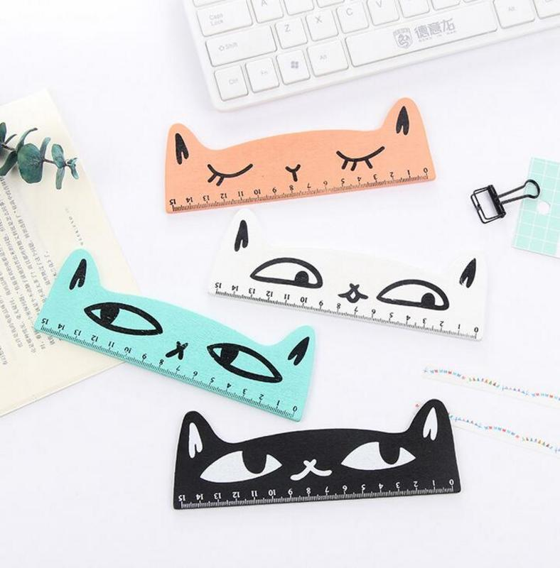 Kawaii Cute Cartoon Student Ruler 15cm Korean Creative Stationery Cat Wooden Ruler Parallel Straight Ruler For Painting Drawing