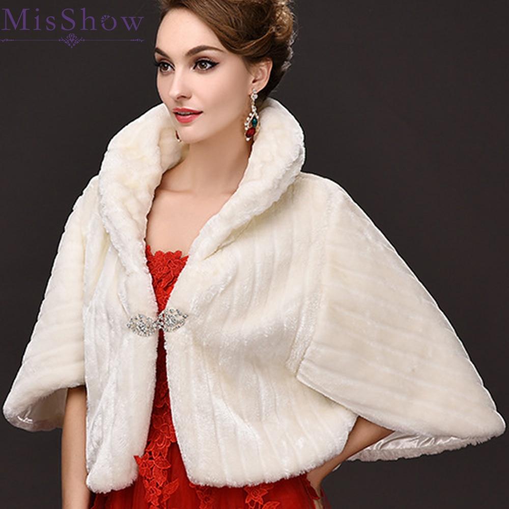 Hot Sale Winter Warm Bridal Fur Wraps Wedding Bolero Cheap Bridal Shawl Capes Plus Size Bolero Faux Fur Shawls Wedding Jackets