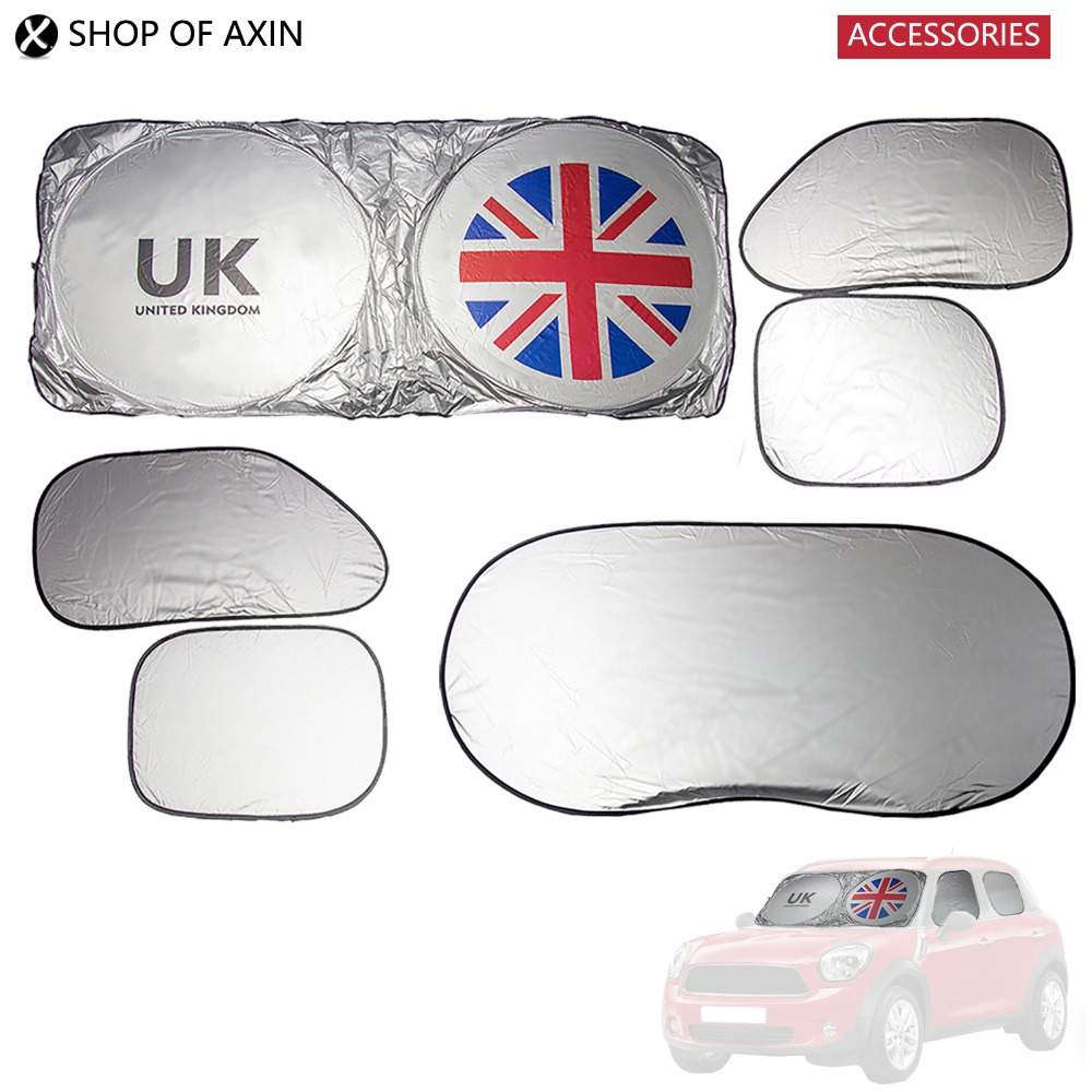 Car Sunshade Front Windshield Rear And Side Windows (1sets 6 Pieces, Union Jack , Silver Finish) For Mini Cooper