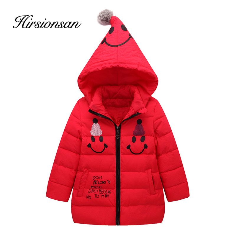 Hirsionsan Winter Down Jacket for Girls Smiling Face Long Coat Sweet White Duck Down Windproof for Kids Children Parkas Clothes 2017 kids jacket winter for girl and coats duck down girls fluffy fur hooded jackets waterproof outwear parkas coat windproof