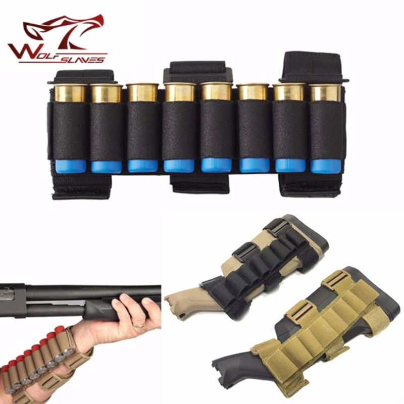 Tactical Military 8 Rounds 12 GA Shot Gun Ammo Holder Bullet Arm Pouch Shell Bag 1000D Nylon Airsoft Hunting Accessories new 30 50 cal metal ammo can military and army m19a1 all metal box for long term storage by solid tactical bullet box ammo case