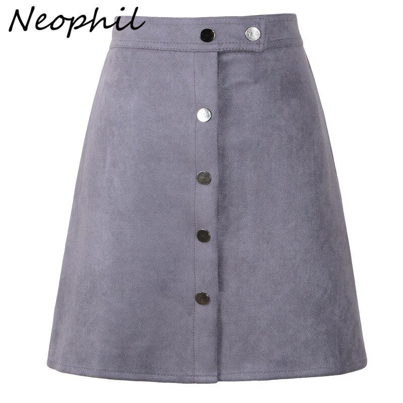 Neophil 2019 Winter Women Suede Button Mini Vintage Style A Line Skirts High Waist Black Wrap Ladies Short Skirt Tutu Saia S1001