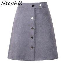 Neophil, Зимняя женская замшевая мини-юбка в винтажном стиле с пуговицами, трапециевидная юбка с высокой талией, Черная Женская короткая юбка-пачка, Saia S1001