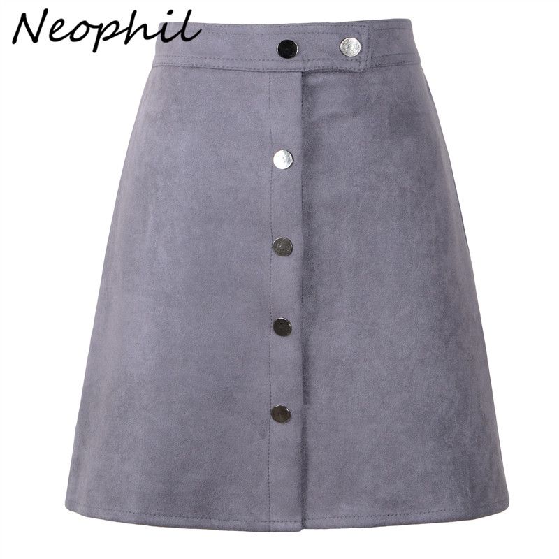 Neophil 2020 Summer Women Suede Button Mini Vintage Style A Line Skirts High Waist Black Wrap Ladies Short Skirt Tutu Saia S1001