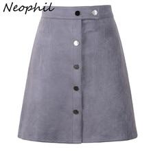 Neophil 2020 חורף נשים זמש כפתור מיני בציר סגנון קו חצאיות גבוהה מותן שחור לעטוף גבירותיי קצר חצאית טוטו saia S1001
