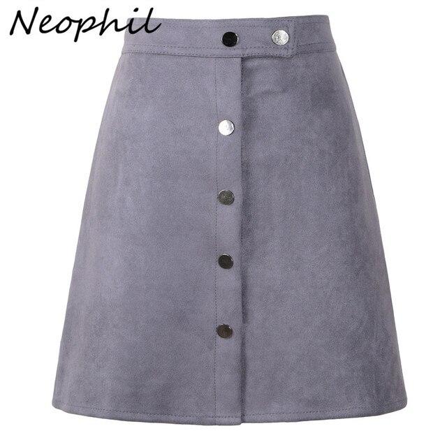 5e17b9cf2 Neophil Women Suede Button Mini A Line Skirt High Waist Black Vintage Style  2019 Winter Wrap