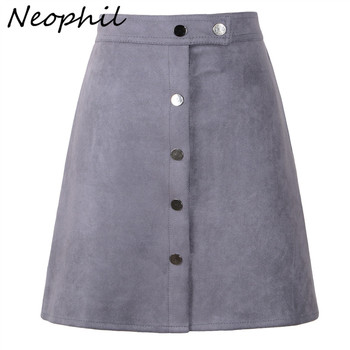 4c04b24cd2 Neophil mujeres gamuza botón Mini falda de cintura alta negro Vintage estilo  de invierno de 2019 de corta Tutu falda saia S1001