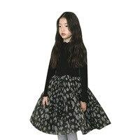 Fashion Children Dress 2018 Fall Winter Baby Girl Leopard Dress Thick Warm Patchwork Dress Velvet Girls Princess Party Frocks