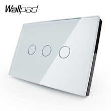 Manufacturer,Wall Switch VL-C303-81,3 gang 1 way 110~250V Smart home, Crystal Glass Panel,US Touch Screen Control Wall Light