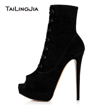 New Womens Ankle Boots Ladies Platform Open Toe Fashion Thin High Heels Black Button Boots Women Shoes Plus Size 46 Wholesale
