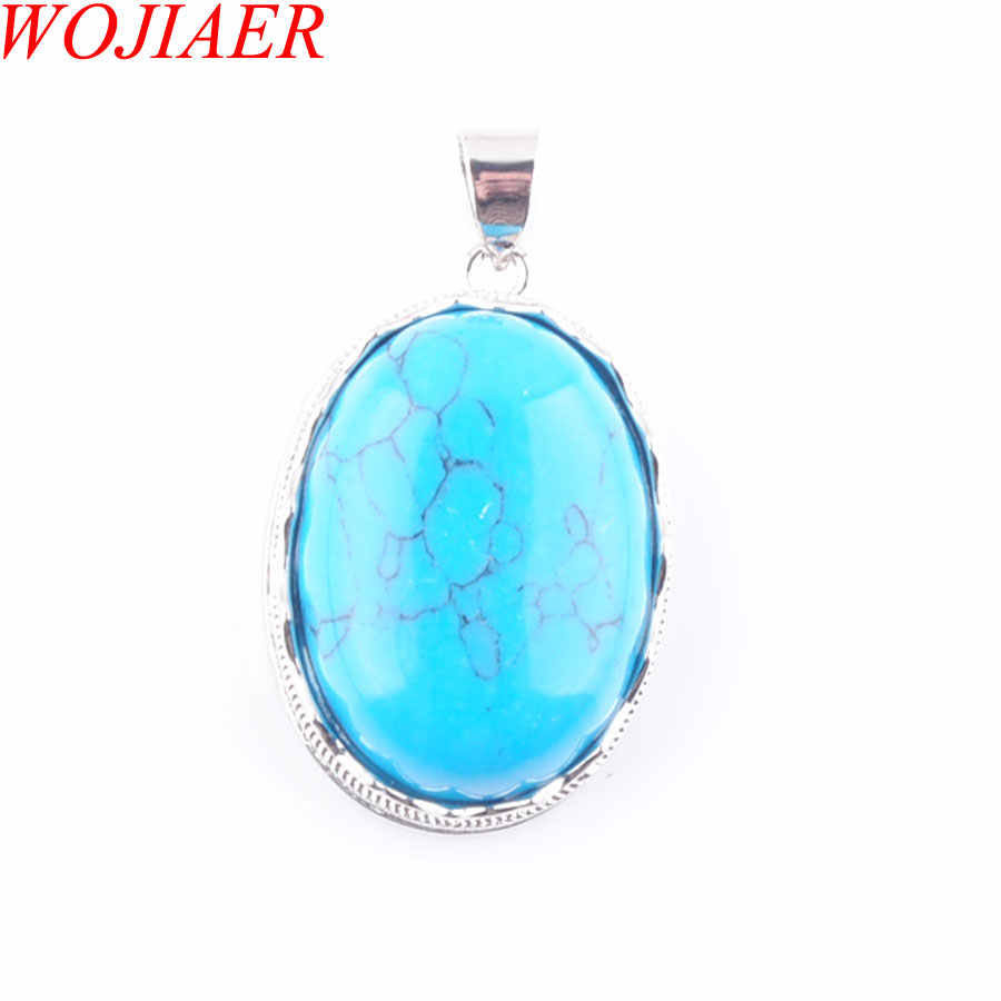 Aşk yaz yumurta şekli dekorasyon mavi Turquoises taş bildirimi süspansiyon Charms kolye kadın hediye WOJIAER PN3322
