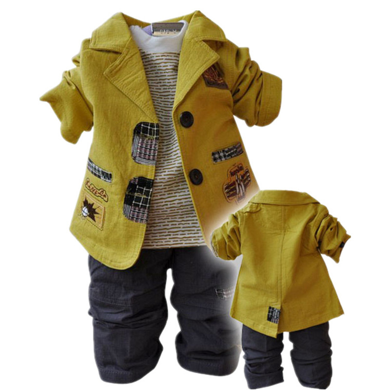 Baby Boy Suit 2017 New Children's Clothing Sets Cotton Coat+T-shirt+Pants Kids Three Piece Suit Sets Baby Boys Clothes Retail