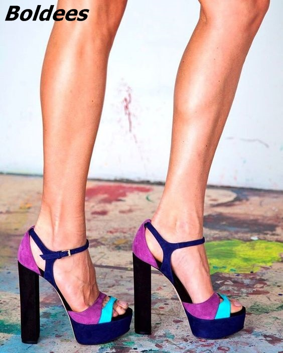 Moda estilo fivela plataforma feminina salto alto elegante colorido camurça aberto dedo do pé bloco sandálias vestido de salto sexy sapatos boate quente