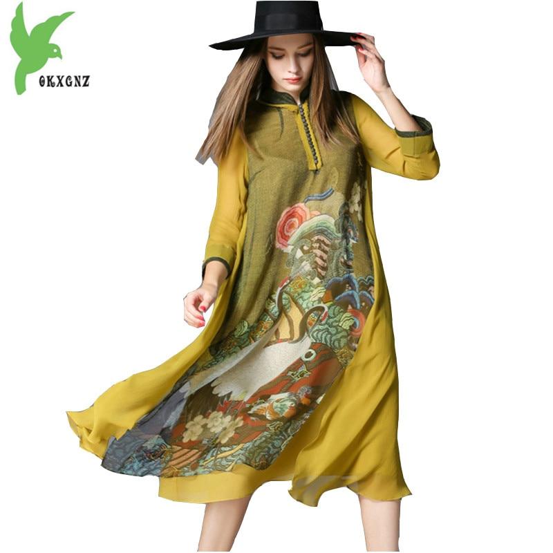 2018 européenne nouveau été femmes soie imprimé robe Boutique mode ver à soie soie princesse robe grande taille lâche robe OKXGNZ1616