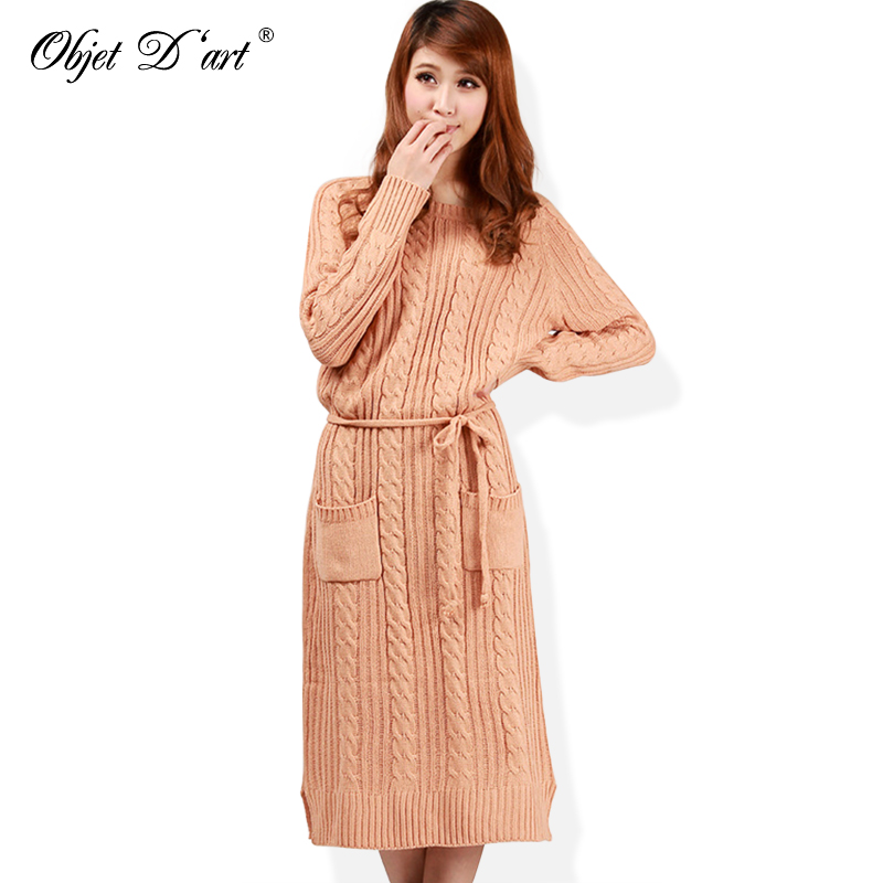 US $16.47 10% OFF|Aliexpress.com : Buy New Fashion Women Sweaters Dresses  Long Sleeves Autumn Winter Knitting Dress Warm Midi Dress Plus Size Sweater  ...