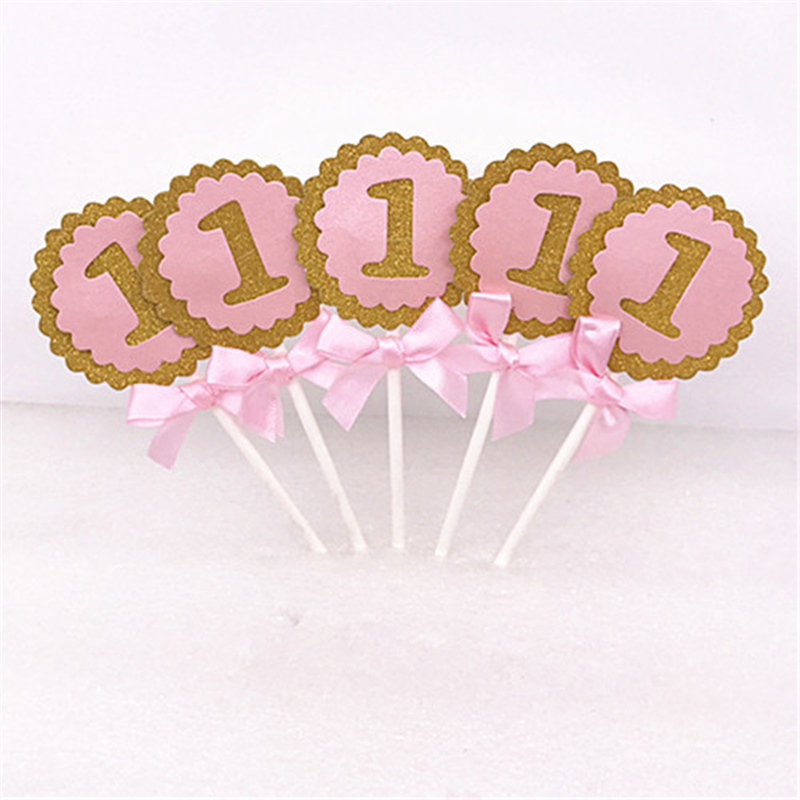 5pcs Baby First Birthday Cupcake Toppers Boy Girl Party Decoration Anniversary 1st Birthday Party Decoration Kids Baby Shower.S