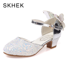 SKHEK NEW Children Sandals Kids Girls Wedding Shoes High Heels Dress Party For Size 28-37
