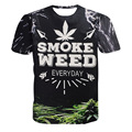 2016 New Fashion 3D Print Tobacco Smoke Weed Pattern T-shirt Women/Men Casual Short Sleeve Tees O-neck Hip Hop Tops Plus Size