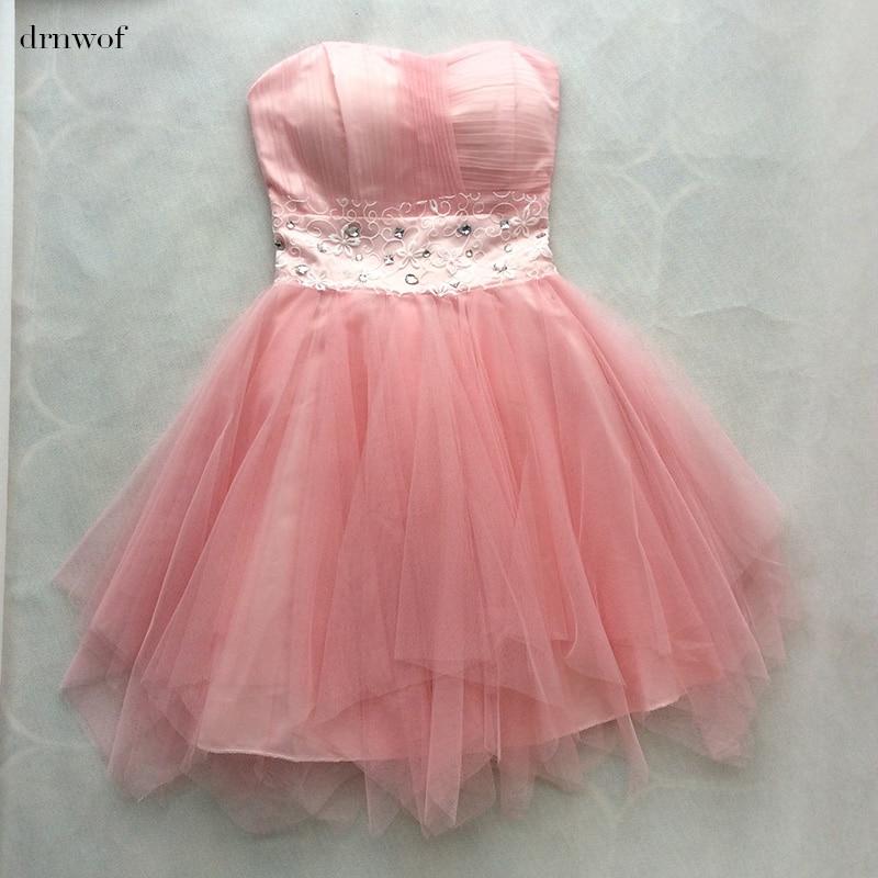 Cheap Bridesmaid Dress fit Junior Girls Dress drnwof 2017 New Strapless Sleeveless Summer Party Dresses White Pink Purple Blue
