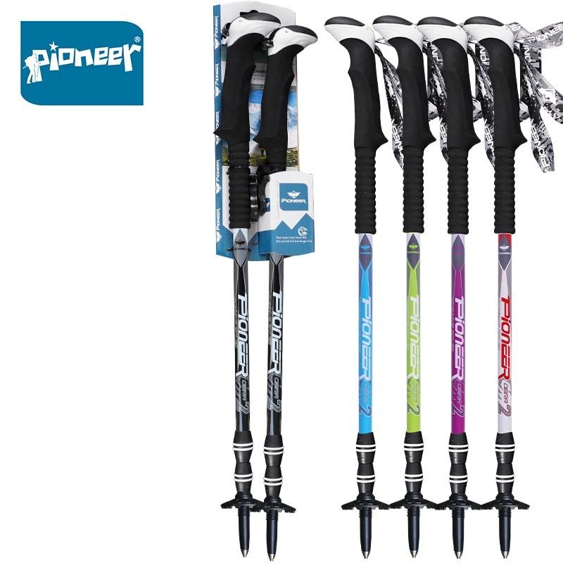 2 Pcs Adjustable Carbon Fiber Telescopic Hiking Walking Sticks Trekking Poles 3 Section Anti shock Ultralight