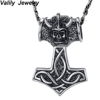 Silver Thor S Hammer Pendant Stainless Steel Orc Viking Skull Vintage Necklace