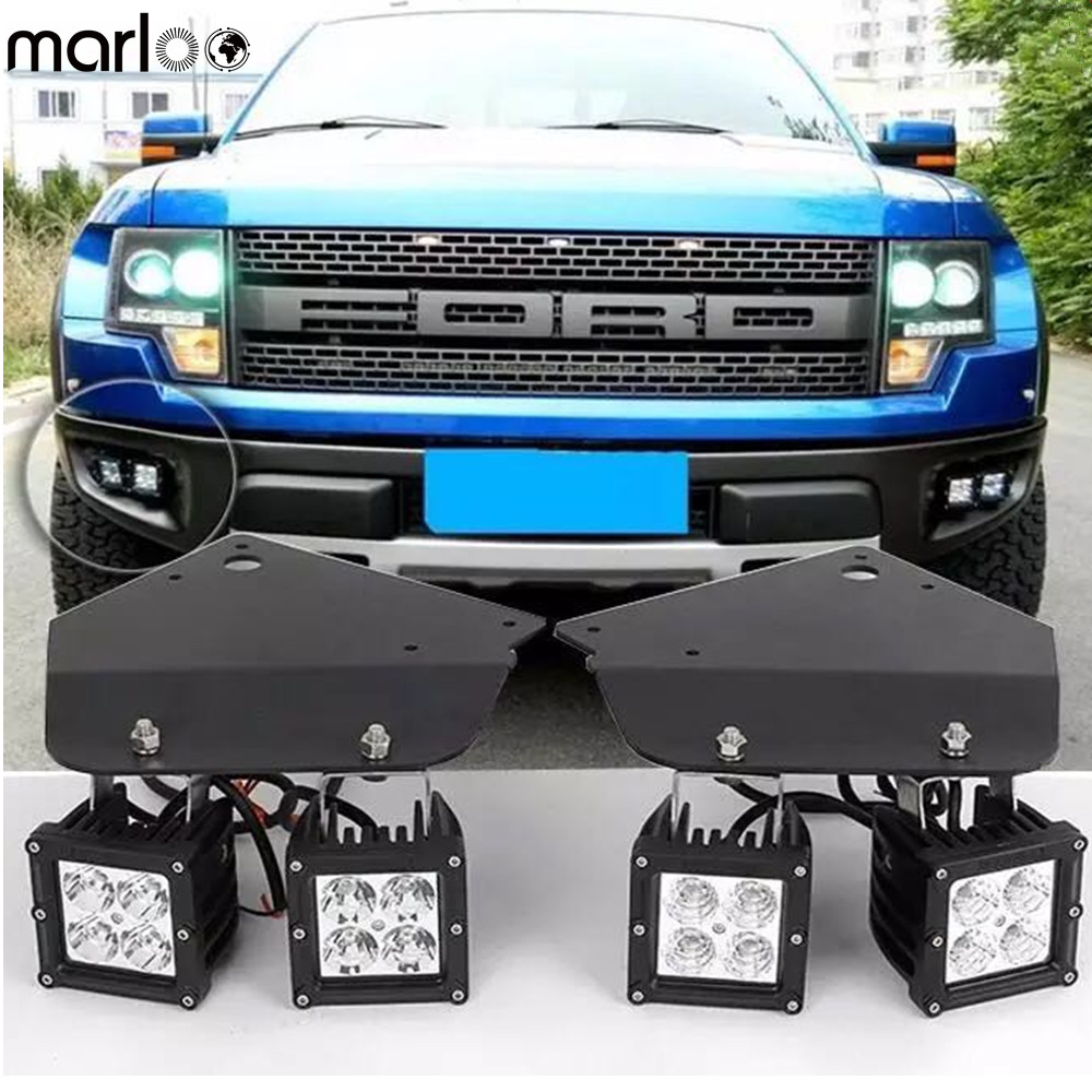 Marloo 4X 20W High Power LED Fog Light with Hold Stand Bracket For 2010 2011 2012 2013 2014 FORD F150 SVT Raptor монстр 1 12 электро savage xs flux ford svt raptor 2 4ghz влагозащита без акб и з у