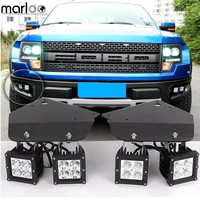 Marloo 4X 20W High Power LED Fog Light with Hold Stand Bracket For 2010 2011 2012 2013 2014 FORD F150 SVT Raptor