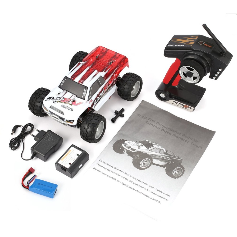 WLtoys A979-B 2.4GHz 1/18 Scale Full Proportional 4WD RC Car 70KM/h High Speed Brushed Motor Electric RTR Monster Truck wltoys a959 b 1 18 scale 70km h high speed rc car rtr