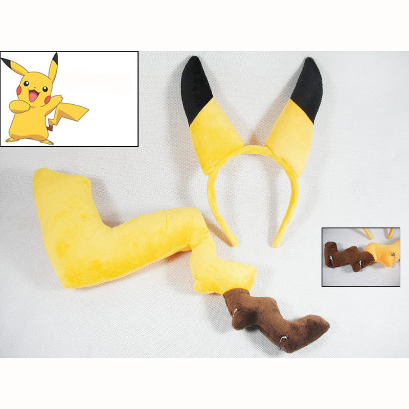 Cosplay Baby Plush Toys, Pikachu Ear And Tail Cosplauy Animal , Children Toys ,Cute Plus ...