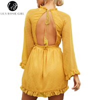 Lily Rosie Girl Sexy Lace Up Backless Mesh Dress Women Elegant Sash Mini Long Flare Sleeve