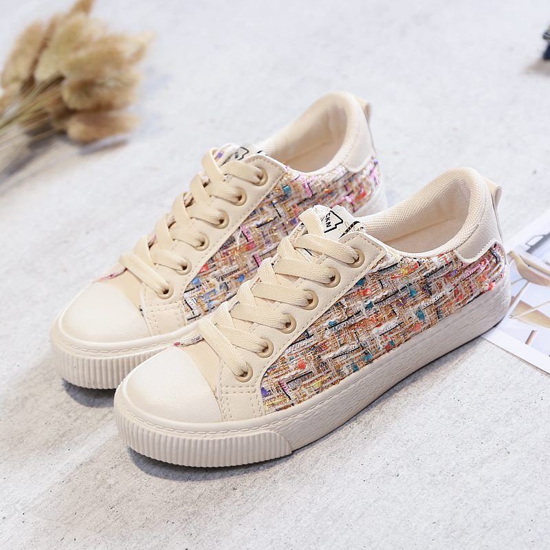 Women Casual Shoes Bling Bling Sequins Female Flats Lace Up Colorful Sneakers for Girls Preppy Style Chaussure Femme Black Beige