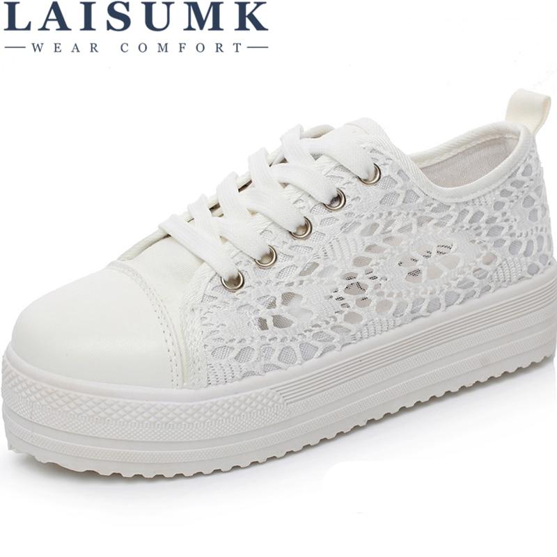 2018 LAISUMK Women Shoes Fashion Summer Casual Shoes Cutouts Lace Canvas Hollow Breathable Platform Flat Shoes Woman Sneakers
