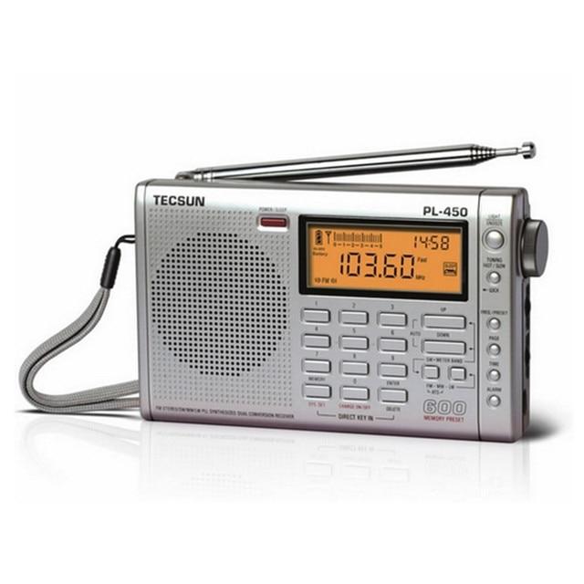 Оригинал Tecsun PL-450 Fm-радио Стерео LW М. В. SW-SSB AIR Коротковолновый Двойным Преобразованием Радио Портативный Louderspeaker FM Радио 2 Цвет