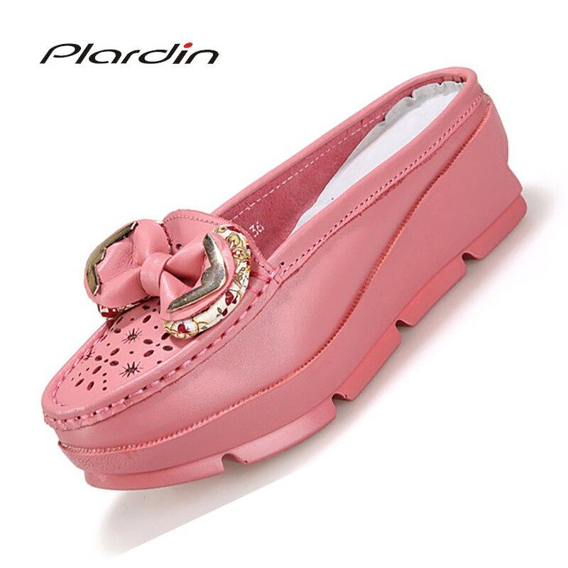 Plardin 2018 Four Seasons Leisure Genuine Leather Sewing Skate Shoes Flat Women Shoes Ballet Lace Up Concise Women Flats Shoes