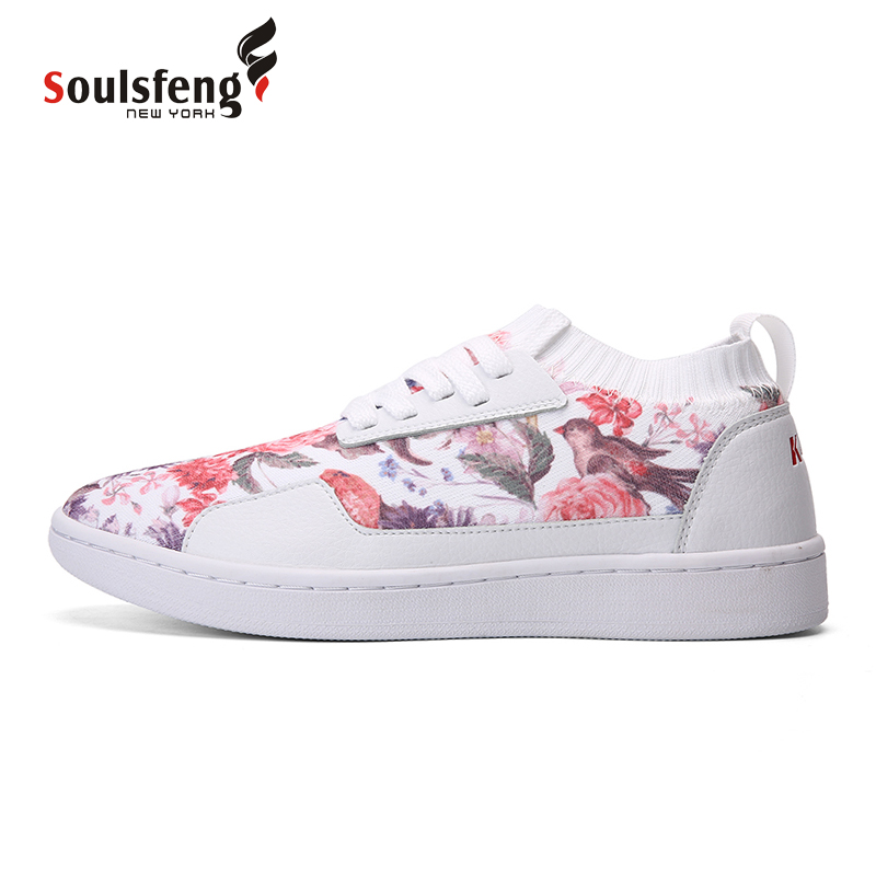 Soulsfeng Unisex Board Shoes printing Skateboarding Shoes Flynit Lace up Sports Sneakers Breathable walking shoes 170802A