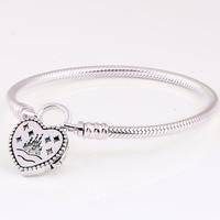 New 925 Sterling Silver Bracelet World Park Castlel Love Heart Clasp Snake Bracelet Bangle Fit Women Bead Charm Pandora Jewelry