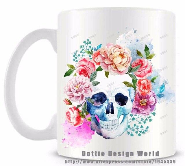 Cráneo mexicano del azúcar Día de los muertos taza divertida del ...