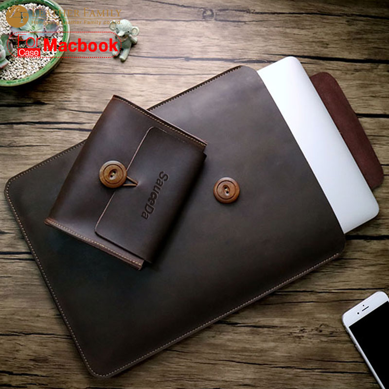 For macbook pro 13 case original Genuine Leather bag for new macbook air 11.6 12 13.3 15.4 inch laptop with Mouse Charger pouch цены