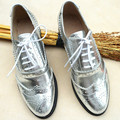 New Brand silver women shoes Full Grain Leather Lace-up women's shoes vintage Bullock carve patterns oxford shoes for women