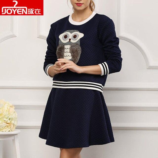 Owl Pattern Retro woman clothes sets 2015 plus size 2 piece set women casual dress conjunto saia e blusa skirt and top
