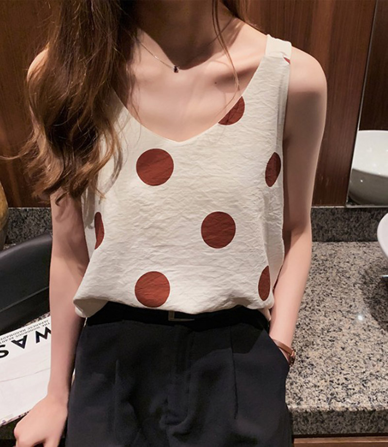 Tank     Top   2019 Summer Polka Dot Print Sleeveless Casual   Tops   Ladies V-neck Female Vest Clothing Women   Top   Summer Casual   Tops