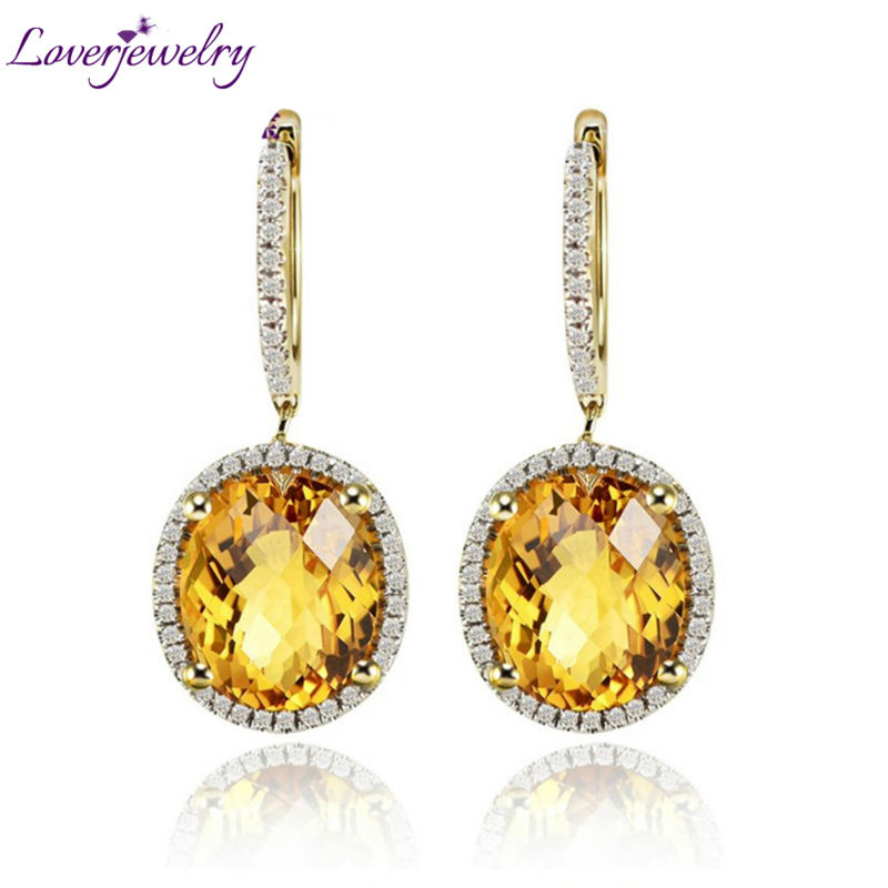 Vintage Oval 10x12mm Citrine Earrings Solid 14Kt Yellow Gold,Real Diamond Jewelry 585 Yellow Gold E0003 недорго, оригинальная цена