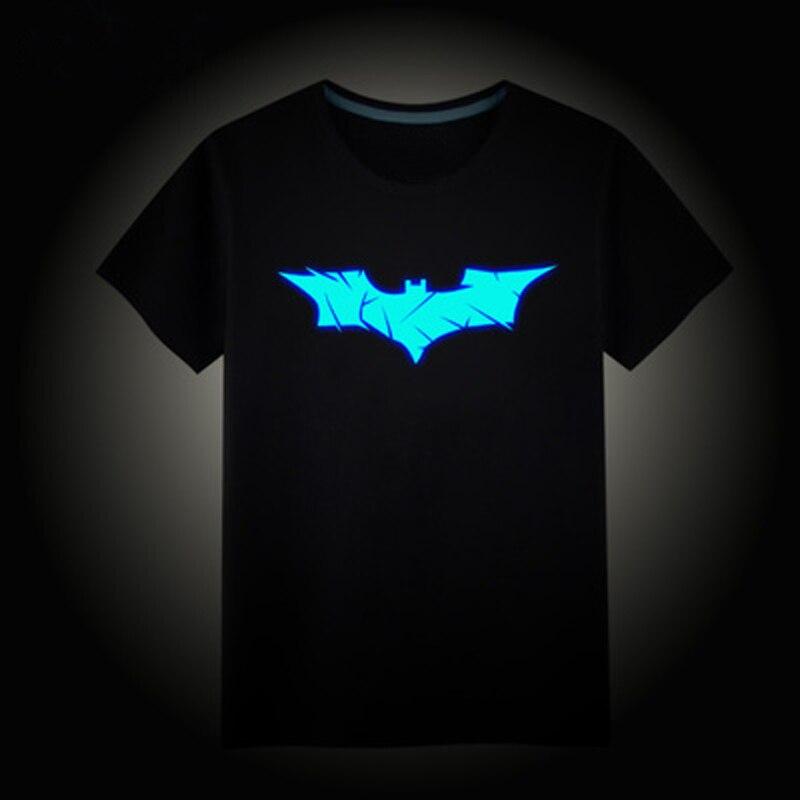 Children's T-Shirt Fluorescent Clothing Tops Noctilucent-Logo Girls Boys Summer Bat Cotton
