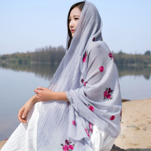 2019 Newly Hot Women Floral Embroidery Long Scarf Anti Ultraviolet Shawl Spring Summer Autumn  MSK66