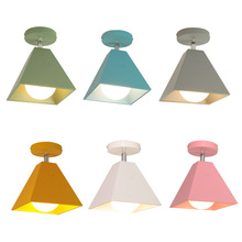 Creative Nordic color ceiling lamp Iron Art Led Lighting  Square Light Fixture For Ceiling Living Room Kitchen Lights