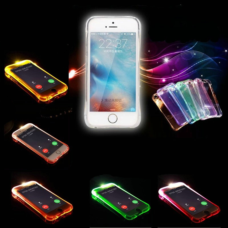 Phone Back Case Fundas For iPhone 5 5S SE 6 6S 7 8 Plus Cover Anti-Knock Soft TPU LED Flash Light Up Remind Incoming Call Cases