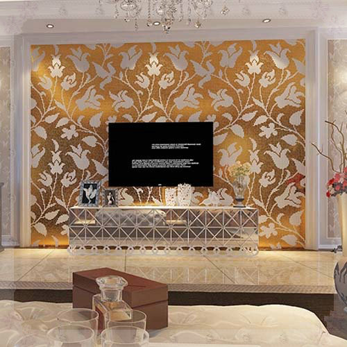 European Crystal Glass Mosaic Tiles Gold Mirror Turmeric Floral Wallpaper Puzzle Kitchen Tv Backsplash Wall Tile